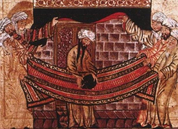 A 1315 illustration inspired by the story of Muhammad and the Meccan clan elders lifting the Black Stone into place. Was the black stone a meteor from space?
