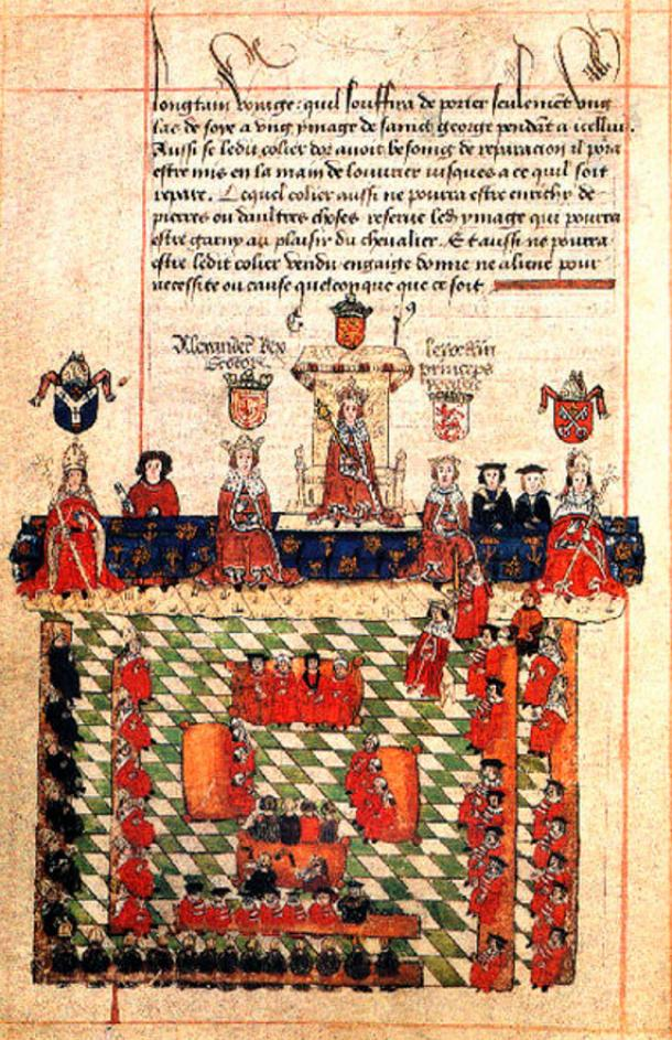 16th-century illustration of Edward I presiding over Parliament.