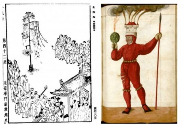 Right: An illustration of a fireworks, 1628-1643 edition of the Ming Dynasty book. Left: Flaming castles and artichokes.