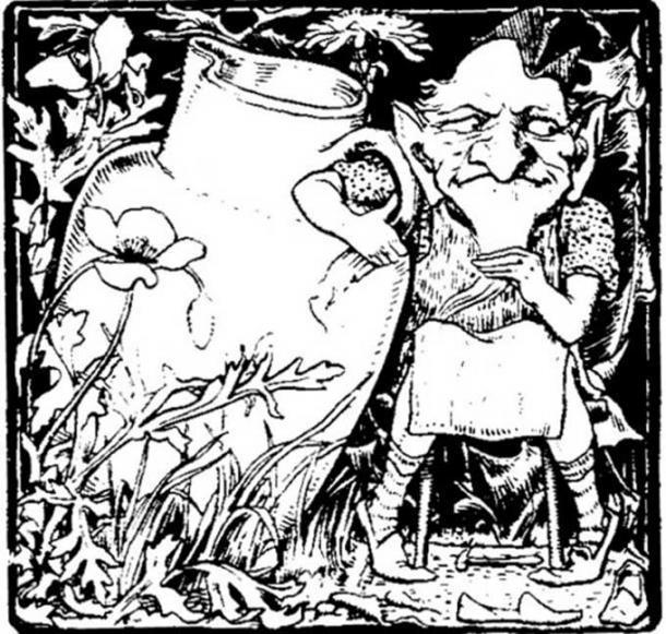 An illustration of a leprechaun or clurichaun, cousin of the leprechauns.