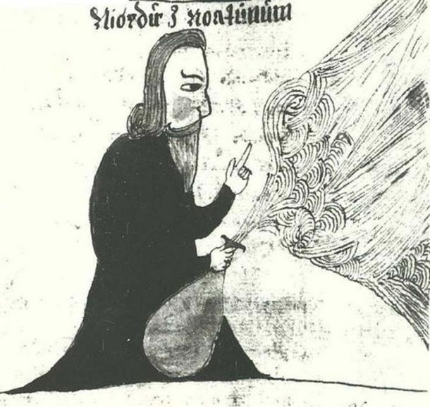 An illustration of the Norse god Njörðr, from an Icelandic 17th century manuscript.