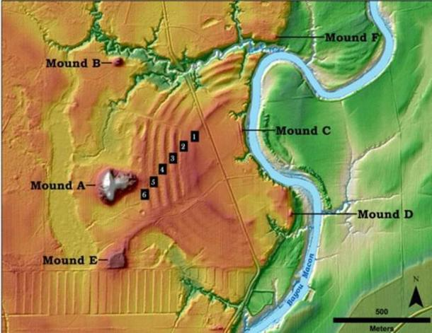 The illustration above shows the core features of the Poverty Point site in northern Louisiana. (T.R. Kidder / Washington University in St Louis)