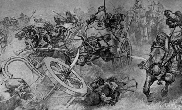 Illustration of bladed war chariots. (Public Domain)