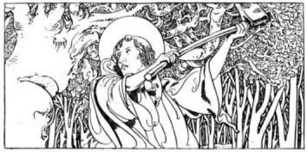 A depiction of Boniface destroying Thor's oak from The Little Lives of the Saints (1904), illustrated by Charles Robinson. (Public Domain)