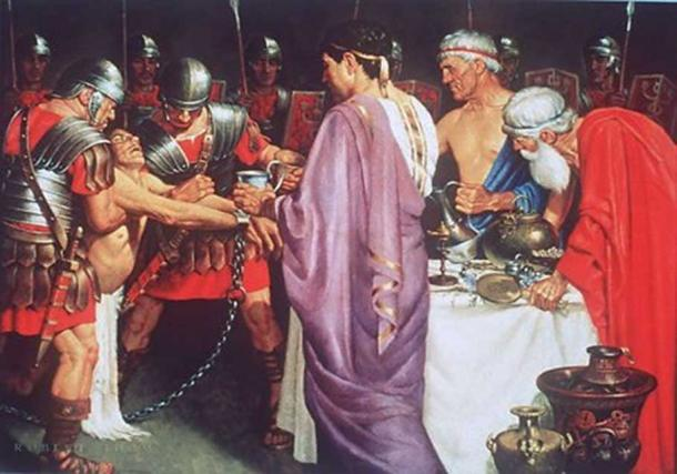 An image depicting Mithridates VI giving poison to a prisoner. (CC BY NC ND 3.0)