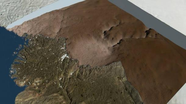 An image from NASA showing the ice sheet removed in the region around the Hiawatha Glacier and the bed topography under the ice clearly showing the Hiawatha crater