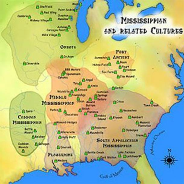 Map of ancient Mississippian and related cultures, where Cahokia tribe was situated. (Herb Roe)