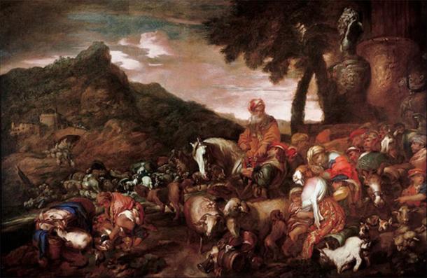 Journey of the Family of Abraham by Giovanni Benedetto Castiglione (1650-1660)