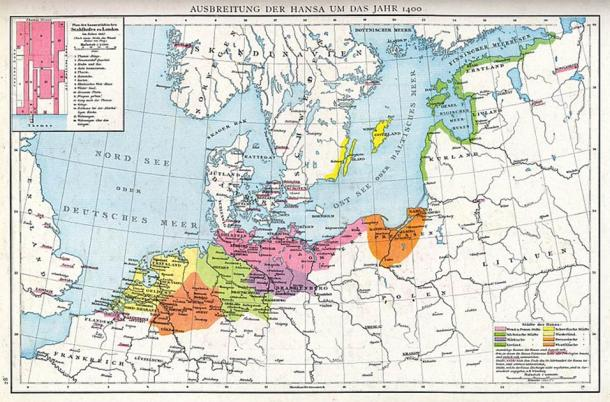 Map of Medieval Northern Europe showing the extent of the Hanseatic League. Source: Droysen / Andrée / CC BY-SA