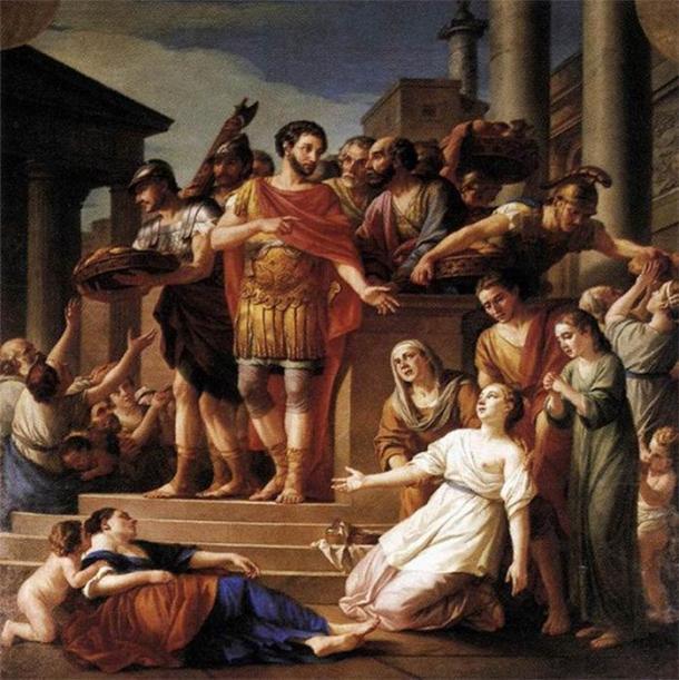 Marcus Aurelius Distributing Bread to the People by Joseph-Marie Vien (1765) Musée de Picardie (Public Domain)