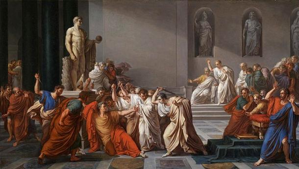 The Death of Caesar by Vincenzo Camuccini (1804) Galleria Nazionale d'Arte Moderna e Contemporanea. (Public Domain)