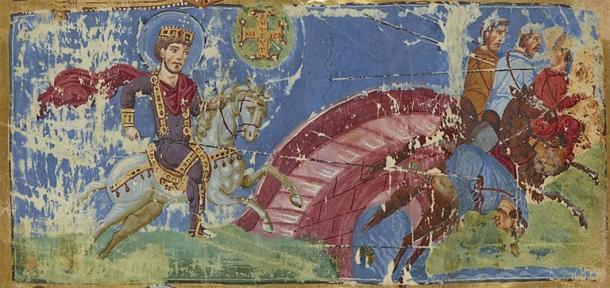 Constantine's Vision and the Battle of the Milvian Bridge in a ninth century Byzantine manuscript. Bibliothèque nationale de France. (Public Domain)
