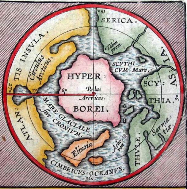 Ancient north pole map of mythical lands including the central continent of Hyperborea. (Abraham Ortelius / Public domain)