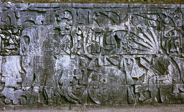 Relief sculpture in the Great Ball Court at Chichen Itza showing sacrifice by decapitation. (HJPD / CC BY-SA)