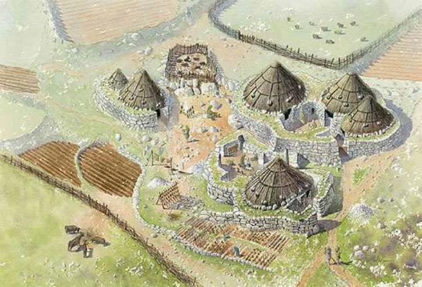 A reconstruction illustration showing the late Iron Age courtyard houses at Halangy Down Ancient Village (Illustration by Phil Kenning / Historic England)