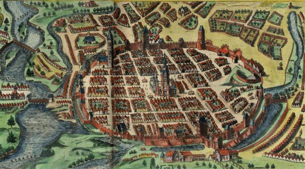Polish fortress walls can be seen in this 1617 illustration of Poznań. (Public Domain)