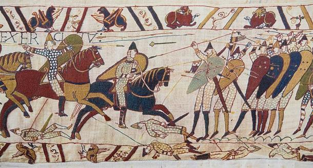 A scene from the Bayeux Tapestry which shows the Norman conquest of England by William the Conqueror up until the Battle of Hastings in 1066  (Public domain)