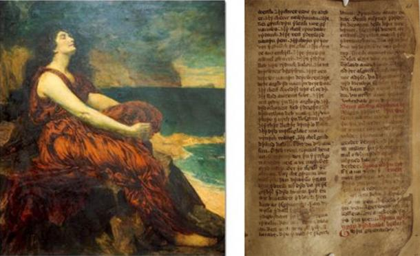 Branwen, on the left, is one of the most tragic figures from Welsh mythology, is associated with Harlech Castle. (Public domain) Right; The Four Branches of the Mabinogion are a collection of Medieval Welsh mythological which include the story of Branwen ferch Llŷr. (National Library of Wales / CC0)