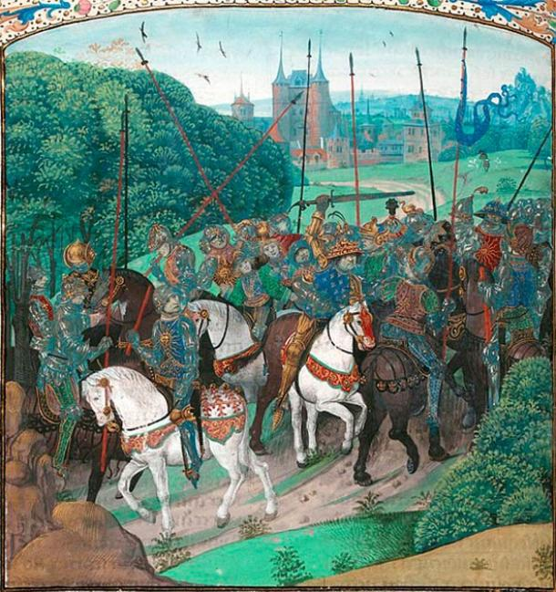 Catherine of Valois did not have a happy childhood. Her father, Charles VI, suffered from infamous bouts of insanity. One such episode occurred when crossing the forest of Le Mans during an expedition, when the Charles mistook members of his retinue for enemies and attached them. Image from the 15th century Froissart's Chronicles. (Public domain)