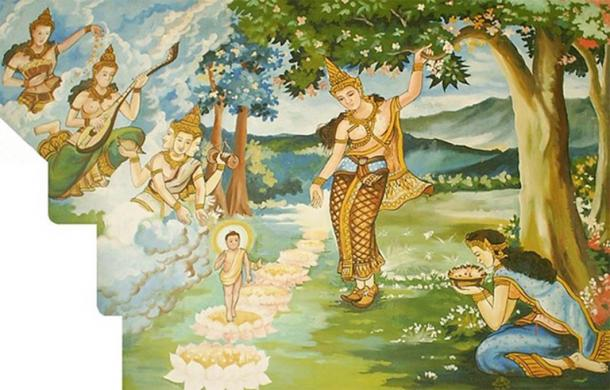 The birth of Gautama Buddha, in a forest at Lumbini. (CC BY-SA 3.0)