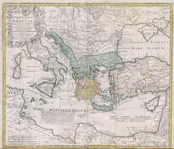 Homann Heirs finest and most appealing maps of the ancient Greek World. (1741) (Public Domain)