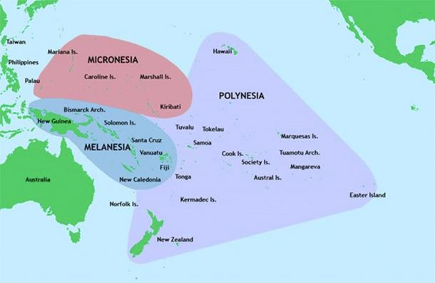 Three of the major groups of islands in the Pacific Ocean (Public Domain)
