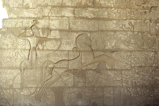 Relief from the Ramesseum, the memorial temple of Pharaoh Ramesses II, showing a chariot in a battle fighting back the Hyksos from Egypt. (Roland Unger / CC BY-SA 3.0)