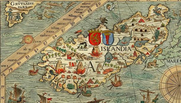 The carta marina map of Iceland by Olaus Magnus which Viking Hrafna-Flóki intentionally settled. (Olaus Magnus /Public domain)