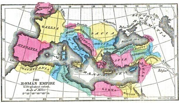 As the Roman Empire grew, the Roman economy also developed significant trade and manufacturing sectors. Map of Roman Empire at its greatest extent. (Public domain)