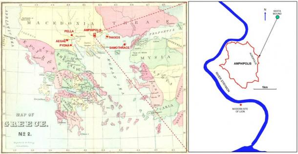 Location of Amphipolis and other relevant sites in northern Greece and the site of the Kasta Mound with the orientation of the tomb chambers towards the acropolis of the city (Image: ©A. M. Chugg using a map of Greece published in 1872).