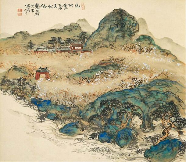 Mount Penglai (Mountain of Immortals) by Tomioka Tessai (1924) (Public Domain)
