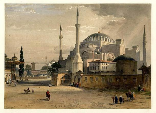 View is from the Imperial Gate of Topkapı Palace, with the Fountain of Ahmed III on the left. (1852 lithograph) (Public Domain)