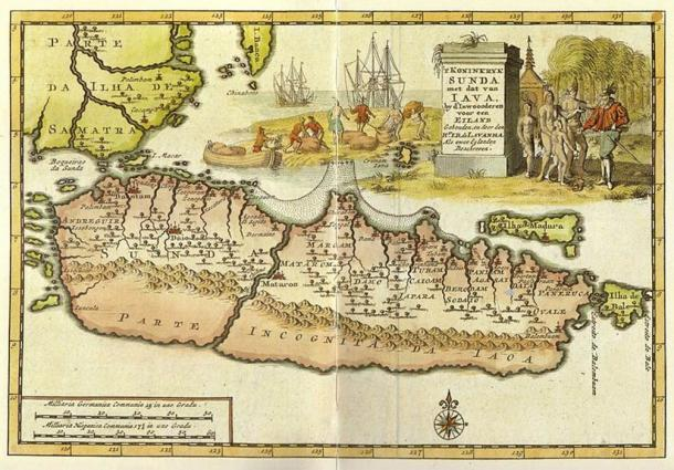 Old map of Java showing the land of Sunda in the west, separated from the rest of Java island. Here the capital of Sunda is called Daio which refer to Dayeuh Pakuan Pajajaran (Public Domain)