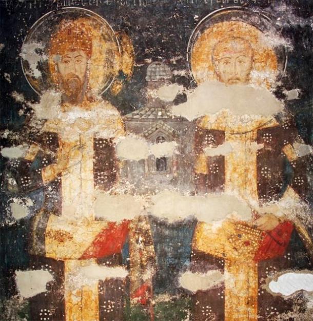 14th century fresco of father and son, Stefan Dečanski and Stefan Dušan, at Visoki Dečani monastery in Serbia. (Public domain)