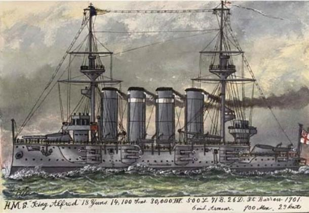 The HMS King Alfred was a Drake-class armored cruiser built for the Royal Navy and named after Alfred the Great. (Public domain)