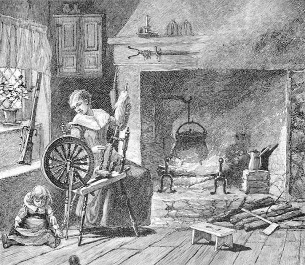 A woman Spinning in the colonial kitchen, from A Brief History of the United States by Joel Dorman Steele and Esther Baker Steele, 1885. (Public Domain)