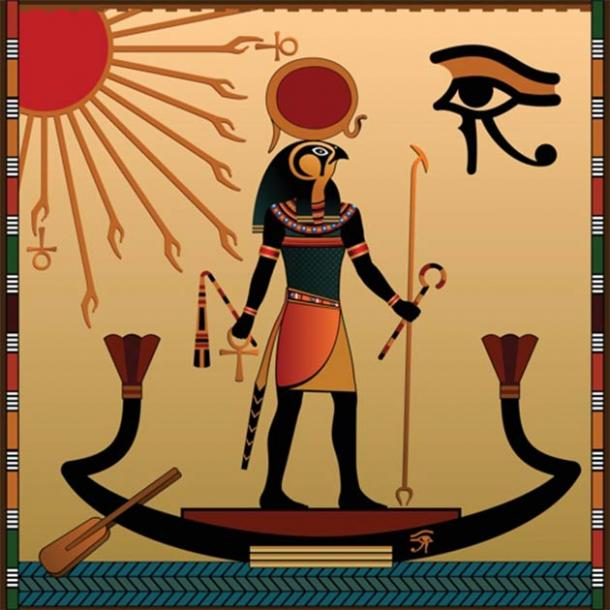 While the sun is so critical to Egyptian religion and mythology, especially during the Amarna age, solar eclipses are never mentioned explicitly. The image depicts Ra, the ancient Egyptian deity of the sun, with a sun-disk resting on his head. (Vladimir Zadvinskii / Adobe Stock)