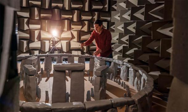 Trevor Cox, an acoustic engineer, working with a 3D scale model of Stonehenge inside a sound chamber at the University of Salford. (Acoustics Research Centre / University of Salford)
