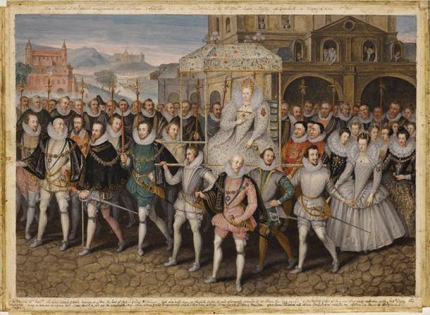 Queen Elizabeth I preceded by the Knights of the Garter. (Public domain)