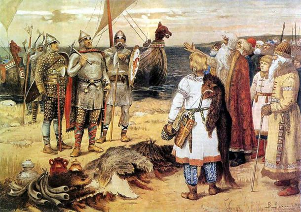 Rurik and his brothers, both Varangian Vikings, arriving in Staraya Ladoga. (Public domain)