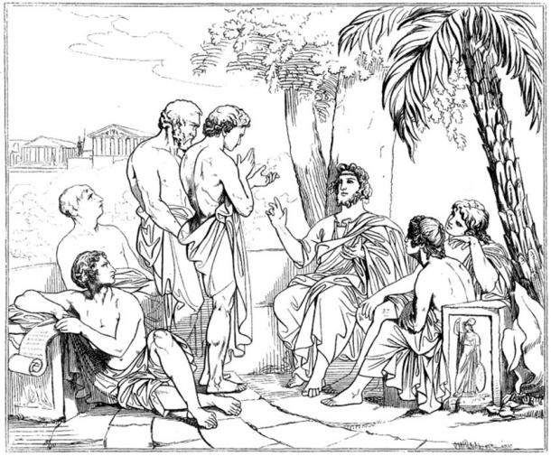 Plato in his academy, drawing after a painting by Swedish painter Carl Johan Wahlbom (Public Domain)