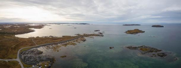 Aerial panoramic view of L'Anse aux Meadows, an archaeological site located on northernmost tip of the island of Newfoundland. Evidence of a Norse presence was discovered there in the 1960s, the only one of its kind in North America. (edb3_16 / Adobe Stock)