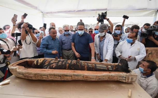 A closeup of one of the new Egyptian mummies, perfectly preserved, found recently at Saqqara, south of Cairo. (Ministry of Tourism and Antiquities)