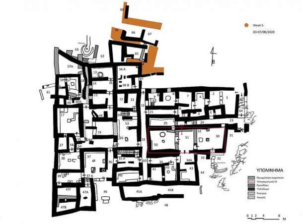 Map of the complex currently under excavation at Zominthos (AIA)