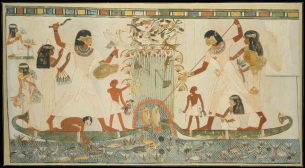Menna and Family Hunting in the Marshes, Tomb of Menna. (CC0)