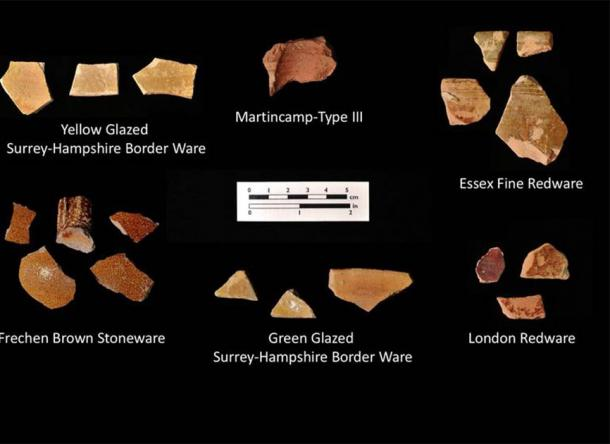Fragments of early English pottery that were found in Bertie County, Virginia by archaeologists working with the First Colony Foundation, which are the primary evidence for the latest Roanoke colony theory. (First Colony Foundation)