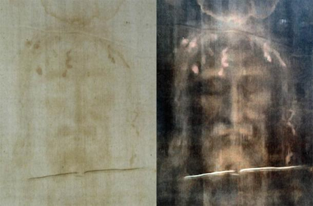 Turin shroud positive and negative displaying original color information (Dianelos Georgoudis/ CC BY-SA 3.0)