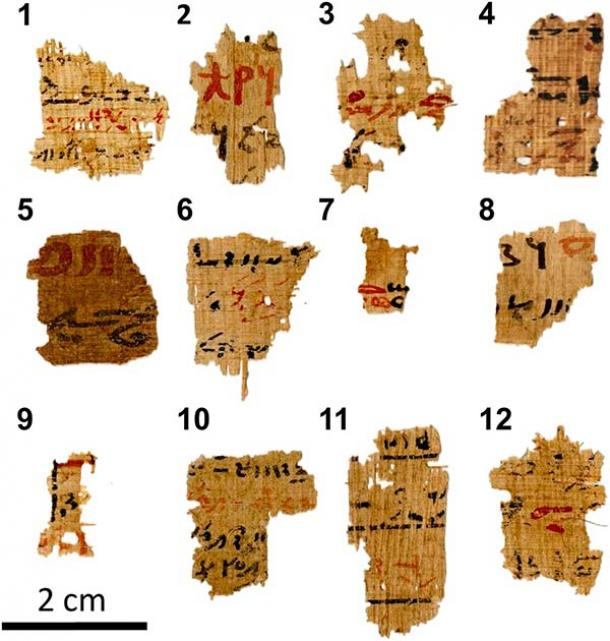 Visible light pictures of the 12 Egyptian writing samples with the sequential numbers assigned to them during the experiments written in bold. The papyrus fragments derive from larger manuscripts from the Tebtunis temple library that are inscribed with both red and black ink (T. Christiansen et al. / PNAS)