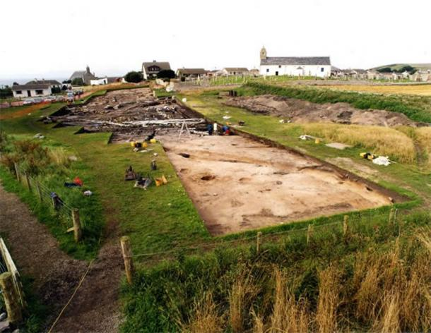 Excavation area around St Colman's Church, Portmahomack. (FAS Heritage)