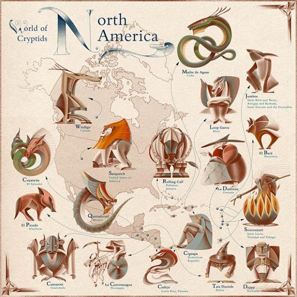 World of Cryptids: North America Map. (Laimute Varkalaite/SavingSpot)